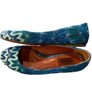 Missoni blue metallic 'M' weave round toe flats